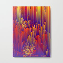 Fiery Rain - Pixel Abstract Art Metal Print