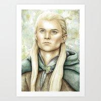 legolas Art Prints featuring Legolas Greenleaf by Elise Hoglund