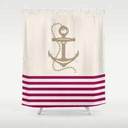 AFE Gold Nautical Anchor Shower Curtain