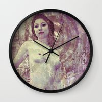 propaganda Wall Clocks featuring Amanda Propaganda  by Sirenphotos