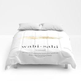 wabi sabi classic with golden watercolor Comforters