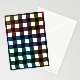 Dark Multicolor Patchwork Checkerboard Pattern Stationery Cards