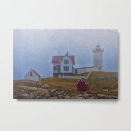 Nubble lighthouse under the fog Metal Print
