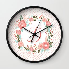 Monogram D - cute girls coral florals flower wreath, coral florals, baby girl, baby blanket Wall Clock