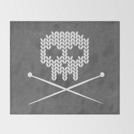 Knitted Skull (White on Grey) Throw Blanket