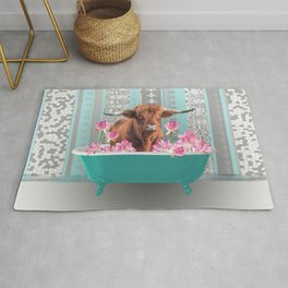 Highland Cow with turquoise Bathtub and Lotos Flowers Rug
