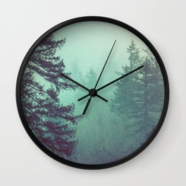 Forest Fog Fir Trees Wall Clock