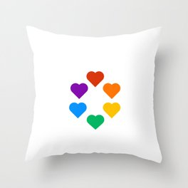 Gay Pride Rainbow Hearts Throw Pillow