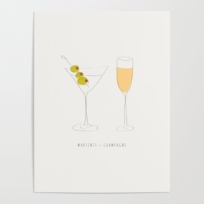 Martinis + Champagne Poster