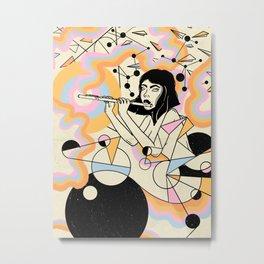 Flute girl geometric abstract surrealism Metal Print