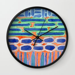 Blue Shapes Pattern Wall Clock