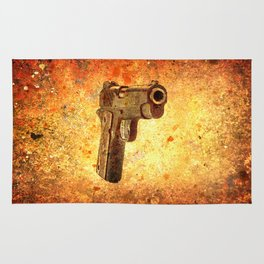 M1911 Muzzle On Rusted Background 3/4 View Rug