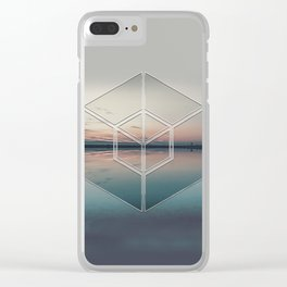 Tranquil Landscape Geometry Clear iPhone Case