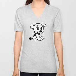 Pudgy, Mrs Boop Puppy companion, Design for Wall Art, Prints, Posters, Tshirts, Men, Women, Kids Unisex V-Neck