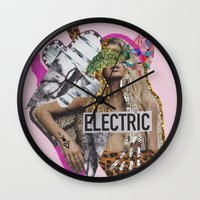 sia Wall Clocks featuring ELECTRIC FANTA-SIA  by Vasare Nar
