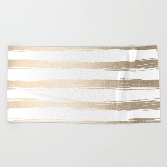 Simply Brushed Stripes White Gold Sands on White Beach Towel