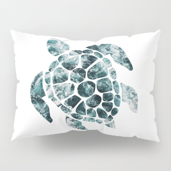 Sea Turtle - Turquoise Ocean Waves Pillow Sham