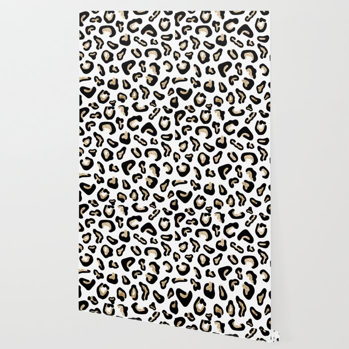 Modern Hipster Black Gold Glitter Animal Print Wallpaper
