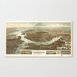 Vintage Pictorial Map of Norfolk Virginia (1892) Canvas Print