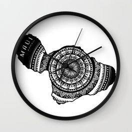 The Island of Maui [Tribal Illustration] Wall Clock