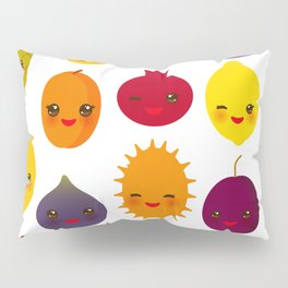 kawaii fruit Pear Mangosteen tangerine pineapple papaya persimmon pomegranate lime Pillow Sham