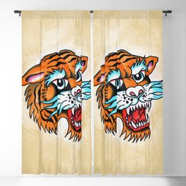 Fierce Tiger - Traditional Tattoo Design Blackout Curtain