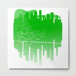 Abstract Green Guitar City Metal Print