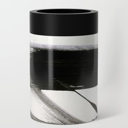 Brushstroke 9: a bold, minimal, black and white abstract piece Can Cooler