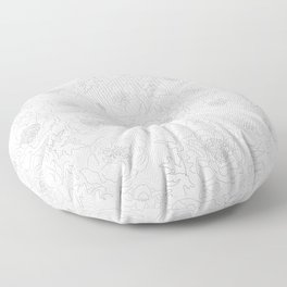 White on Black Peony with Quilt Stitch Floor Pillow
