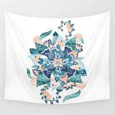 Modern coral blue watercolor floral illustration  Wall Tapestry