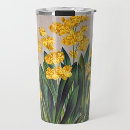 Vintage Oncidium Cheirophorum Golden Yellow Orchids Travel Mug