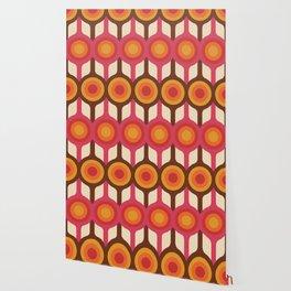Magenta, Orange, Ivory & Brown Retro 1960s Circle Pattern Wallpaper