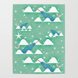Sea unicorn - Narwhal green Poster