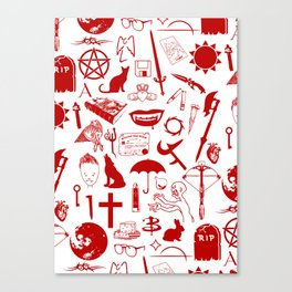 Buffy Symbology, Red Canvas Print