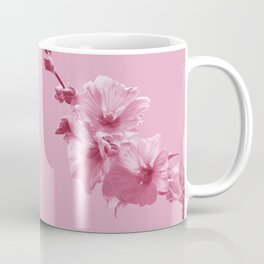 Pink Mallow Flowers Photo to Paint in Pink Coffee Mug