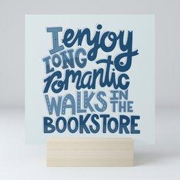 Long Romantic Walks Bookstore BLUE Mini Art Print