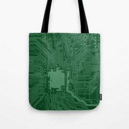 Green Geek Motherboard Circuit Pattern Tote Bag