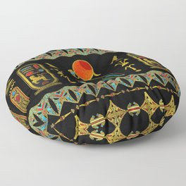 Egyptian Horus Ornament in colored glass and gold Floor Pillow