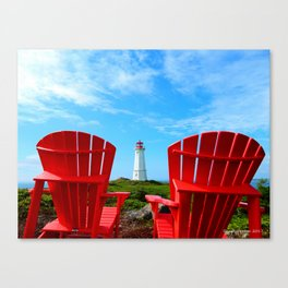 Lighthouse and chairs in Red White and Blue Canvas Print