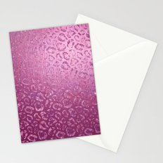 Pink Faux Foil Leopard Print Stationery Cards