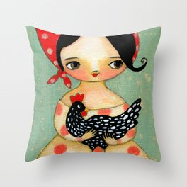 Babusha Girl with Speckled Chicken Throw Pillow