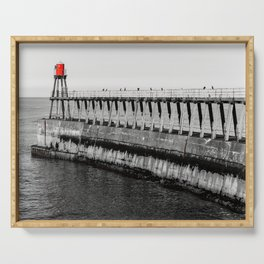 Monochrome scenic view of Whitby Pier in UK Serving Tray