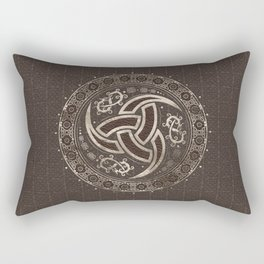 Odin's Horn  - Brown Leather and gold Rectangular Pillow
