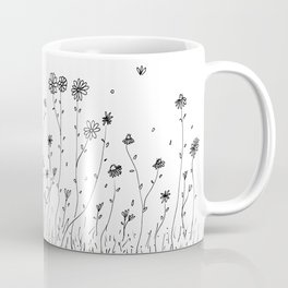 Daisy Flowers Black and White Coffee Mug