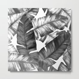 Black And White Tropical Banana Leaves Pattern Metal Print
