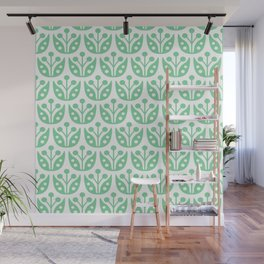 Mid Century Modern Flower Pattern 731 Green Wall Mural