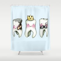 tooth Shower Curtains featuring Rotten Tooth, Crowned Tooth and Wisdom Tooth by Hungry Designs