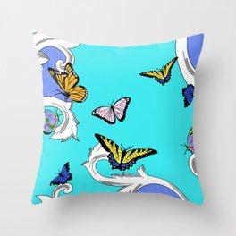 BUTTERFLIES IN FLIGHT PATTERN by gail sarasohn Throw Pillow
