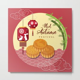 Chinese mid autumn festival  Metal Print