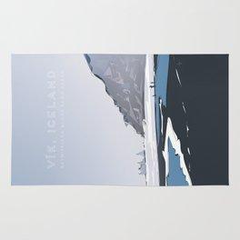 Vik Reynisfjara Black Sand Beach, Iceland Travel Poster Rug